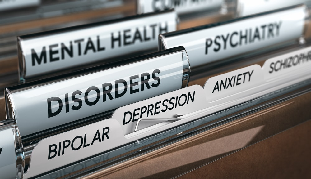 Filing Folder with Different Tabs Labeled with various Mental Health Conditions